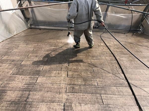 千葉県船橋市 屋根塗装 雨漏り 高圧洗浄作業
